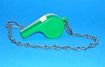 Click here to enlarge image and see more about item TOY0516AA2: Vintage Plastic Whistle and Chain