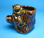 Click here to enlarge image and see more about item TP1202A1-2006: The Cutest VINTAGE RACCOON on Stump TOOTHPICK HOLDER
