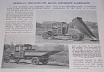 Click here to enlarge image and see more about item TR814AA1: 1921 DETROIT - SPECIAL GARBAGE TRUCKS Article