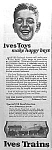 Click here to enlarge image and see more about item TY0509A1: 1922 IVES TRAIN Toy Ad!