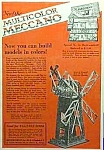 Click here to enlarge image and see more about item TY0518A4: 1926 MECCANO ERECTOR SET Toy Ad Color!