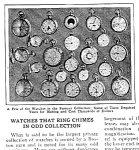 Click here to enlarge image and see more about item WATCH0122A1: 1927 CHIMING POCKET WATCHES Mag. Article