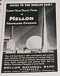 Click here to enlarge image and see more about item WF1010A3: 1939 WORLDS FAIR Mellon National Bank Ad