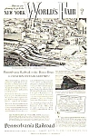 Click here to enlarge image and see more about item WF1223A1: 1939 PENN Railroad NY Worlds Fair Magazine Ad
