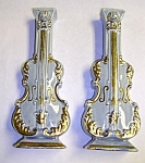 Pair of Vintage VIOLIN Pottery WALL POCKETS