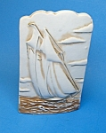 Click here to enlarge image and see more about item WP1021A3-2007: Wonderful Vintage SAILING VESSEL  Pottery  WALL POCKET