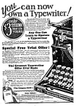 Click here to enlarge image and see more about item WR0122A1: 1927 UNDERWOOD TYPEWRITER Ad
