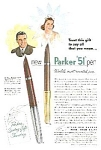 Click here to enlarge image and see more about item WR0403AA1: 1952 PARKER 51 Pen Color Ad - Way Cool!