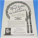 1924 WATERMAN FOUNTAIN PEN Xmas Ad