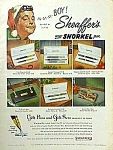 Click here to enlarge image and see more about item WR1022A2: 1953 JACKIE GLEASON Sheaffer Snorkel Pen Ad