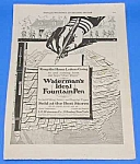 Click here to enlarge image and see more about item WR301AB2: 1918 L.E. WATERMAN FOUNTAIN PEN Ad