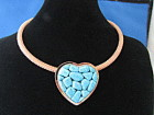 Jay King Signed Mesh Choker with Turquoise Hear Pendant