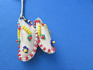Beaded Leather Moccasin Key Chain