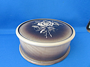 Vintage Wooden Box With Rose On Lid