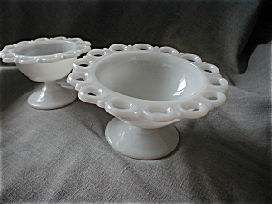 Two Lace Edge Milk Glass Bowls