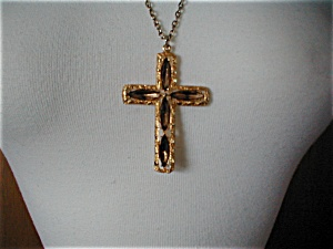 Faux Topaz Cross Necklace (Image1)