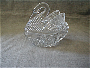 Pressed Glass Swan Tricket Box