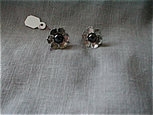 Silver And Black Bead Earrings