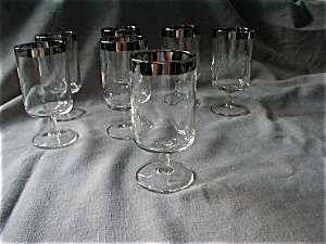Silver Trimmed Stem Wine Glasses (Image1)