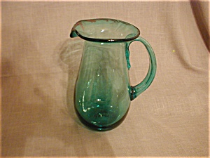 Green Hand Blown Pitcher