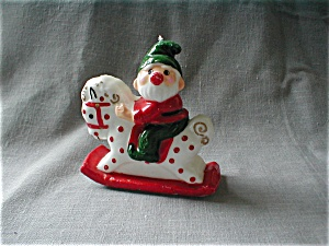 Santa On A Rocking Horse Candle
