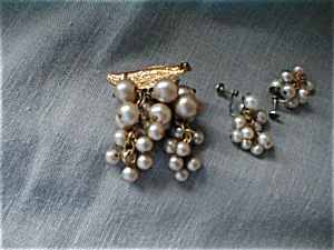 Pearl Brooch And Earrings