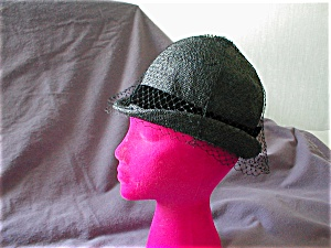Black Velvet Ribbon and Net Straw Hat (Image1)