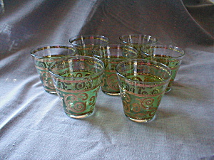 50s Green And Gold Juice Glasses