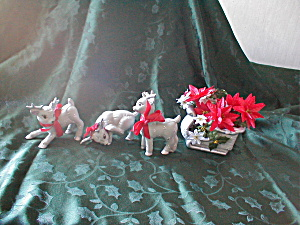 Ceramic Reindeer And Sleigh