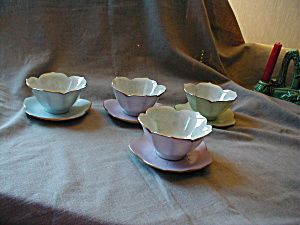 Four Hand Painted Lotus Bowls and Plates (Image1)