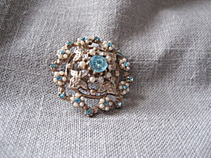Blue Rhinestone and Faux Pearl Brooch (Image1)