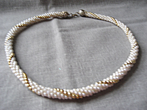 Faux Pearl and Gold Bead Necklace (Image1)