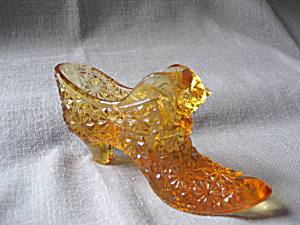 Fenton Amber Glass Shoe