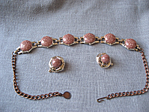 Goldtone and Copper Necklace and Earrings (Image1)