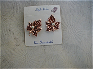 Copper and Imitation Goldstone Leaf Earrings (Image1)