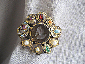 Goldette Cameo and Stone Brooch (Image1)