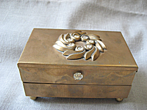 Brass Rhinestone Jewelry Box Or Cigarette Cas
