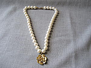 Pearl And Gold Flower Necklace By Xega