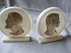 Bakelite Mary And Jesus Bookends