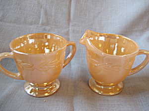 Anchor Hocking Fire King Oven Ware Cup - Peach Lustre Three Bands