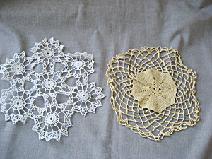 Hand Made Gold And White Round Doilies