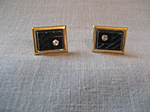 Black Plastic and Faux Diamond Cuff Links (Image1)