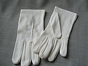 White Vintage Polyester Stitching Gloves