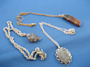 Three Agate Hand Made Necklaces