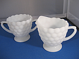 Milk Glass Bubble Cream and Sugar (Image1)