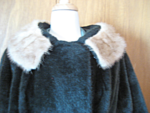 Faux Fur Coat With Real Fur Collar