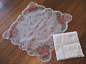 Christmas And White Flower Handkerchiefs