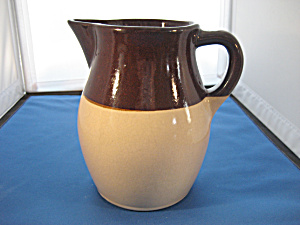 Brown and Beige Stoneware Milk Pitcher (Image1)
