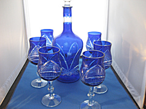 Blue Overlay Glass Decanter and Glasses (Image1)