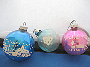 Three Vintage Glass Ball Ornaments